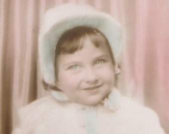 Hand Tinted 1940's Adorable Little Girl Photo Booth Photo - Free Shipping