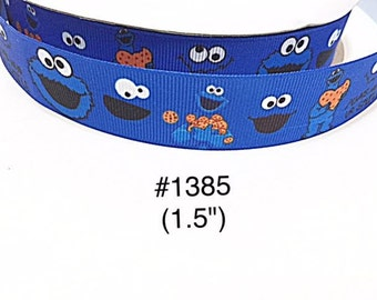 "3 or 5 yard - 1.5"" Cookie Monster ""Always Wear ur Smile"" Blue Grosgrain Ribbon Hair bow"