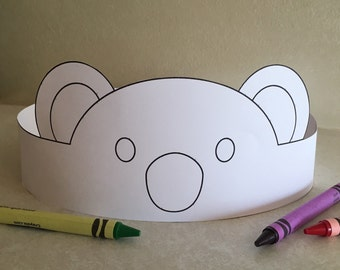 Koala Paper Crown COLOR YOUR OWN - Printable