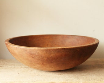 13 1/2 inch Out of Round Wooden Dough Bowl - Rustic Modern - Urban Farmhouse - Centerpiece - Fruit - Wood - Primitive