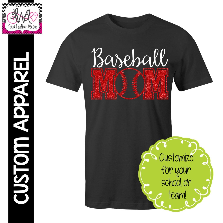 Custom apparel custom baseball mom t shirt with glitter for Custom baseball tee shirts