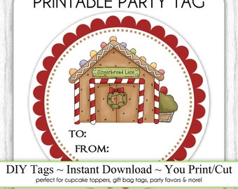 Gingerbread House Christmas Printable Tags, Xmas Tags, DIY Party Tags, You Print, You Cut, INSTANT DOWNLOAD