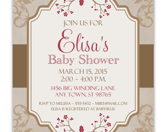 Baby Shower Invitation, Shabby Chic, Christmas Berry Baby Shower, DIY Invitations, Customized for you - 4x6 or 5x7 size - YOU print