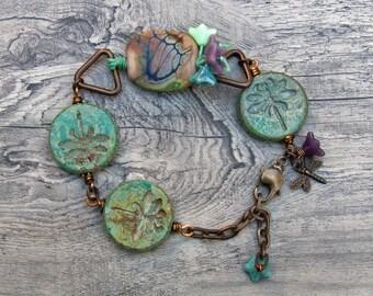 Earthy boho  dragonfly bracelet artisan rustic lampwork Czech glass knotted jewelry - Flower Jasper- WinterBirdStudio