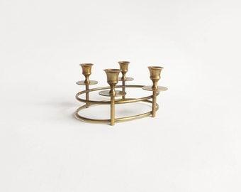 Mid Century Brass Oval Candelabra