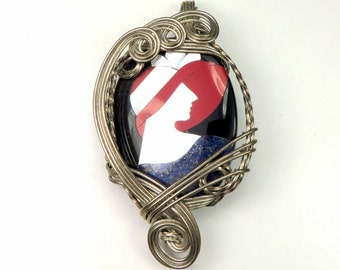 Sterling Silver Wire Wrapped Cameo Inlay Necklace Pendant. Lapis Lazuli & Mother of Pearl MOP Inlaid Cameo Silver Pendant