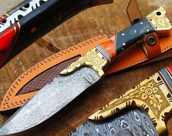 "11.0"" Damascus Blade Collector Hunting Knife w/Engraved Brass Bolsters, Kirinite, Horn,MOP, Sheath UDK-F-33"