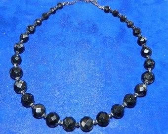 Vintage 20 Inch Jet Black Glass Faceted Bead Necklace