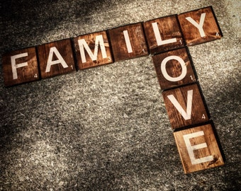Family LOVE Scrabble Inspired Wall Art - Rustic - Wooden - Made to Order - Custom Requests Welcome - Made in Canada
