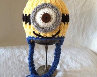 One-eyed Minion Crochet Earflap Hat size newborn