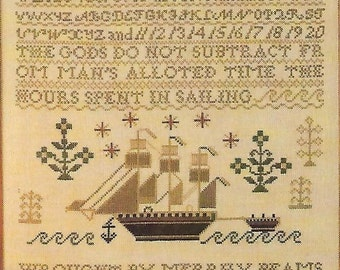 Ship Sampler Cross Stitch Pattern, Vintage, Customizable, Colonial New England Look