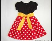 Minnie dress**Mickey Mouse dress**Toddler girls dress**Black, red polka dots, yellow sash**Dress for Disney World**Minnie Mouse dress