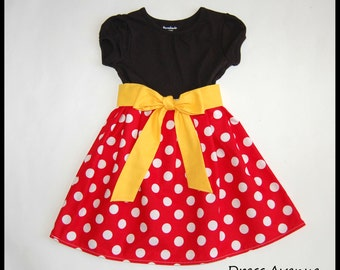 Minnie dress**Mickey Mouse dress**Toddler girls dress**Black, red polka dots, yellow sash**Dress for Disney World**Minnie Mouse dress
