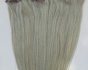 20 inches 7pcs Clip In Human Hair Extensions Ash Silver Gray (beige blonde based)