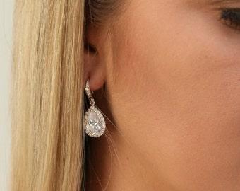 20%OFF Wedding Jewelry Bridesmaid Gift Bridesmaid Jewelry Bridal Jewelry  tear Drop Earrings Cubic Zirconia dangle Earrings ,bridesmaid gift