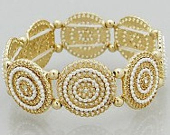 Textured Round Link Stretch Bracelet, Crystal Accented Stretch Bracelet,