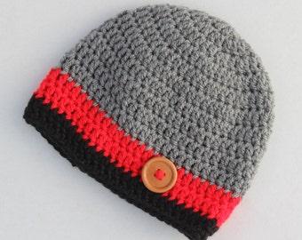 Baby boy crochet hat, baby beanie, winter hat, crochet beanie, crochet hat, baby hat, grey red, infant hat, toddler hat - MADE TO ORDER