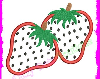 Double Strawberry Sweetness  Machine Embroidery design Applique 039