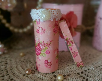 Shabby Cottage Chic Refrigerator Pen Holder or Bud Vase and Clothespin Clip Magnets Decoupage Pink Roses Rosebuds Dorm Kitchen Home Decor
