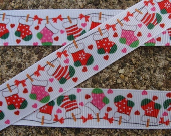 "3 yards Chistmas-Stockings-Socks 7/8"" Holiday-Grosgrain-Ribbon by the Yard-Hair bow-Scrapbook-Crafts-Gift Wrap-Trim-DIY-Supplies"