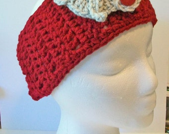 Trendy Crimson and Grey Elephant Hand Crocheted Headband Ear Warmer Child & Adult Sizes Available