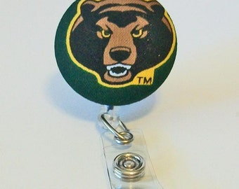 Fun Green and Gold Bears Fabric Button Retractable Badge Reel Clip