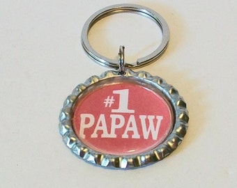 Red and White #1 Papaw Granfather Metal Flattened Bottlecap Keychain Great Gift
