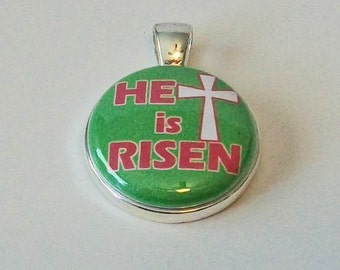 Bright Green and Pink He Is Risen Easter  Round Silver Pendant