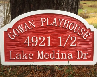 Custom Carved Children's Playhouse Address Sign - with 1/2 half number