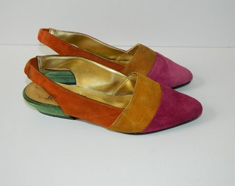 Retro 1980 Ladies Bright Multi Coloured Suede Flats CAN Size  7