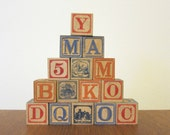 Vintage wood alphabet blocks