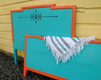 Turquoise and melon southwest tribal bohemian style all wood twin headboard and footboard