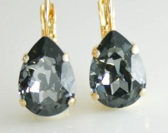 Teardrop earrings,crystal earrings,swarovski,swarovski silver night,black crystal earrings,black earrings,crystal drop earrings,grey earring