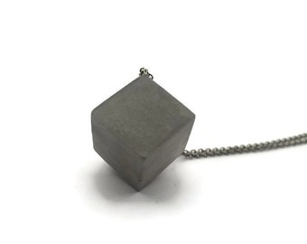 Concrete cube necklace - Grey