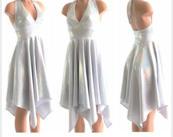 Handkerchief Hemline Halter Dress in Flashbulb Holographic  White 152383