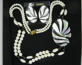 Black & White Necklace, Earrings Set, MOP, Milk Glass Necklace, Vintage Lee Sands Demi Parure, MOP Pierced Earrings