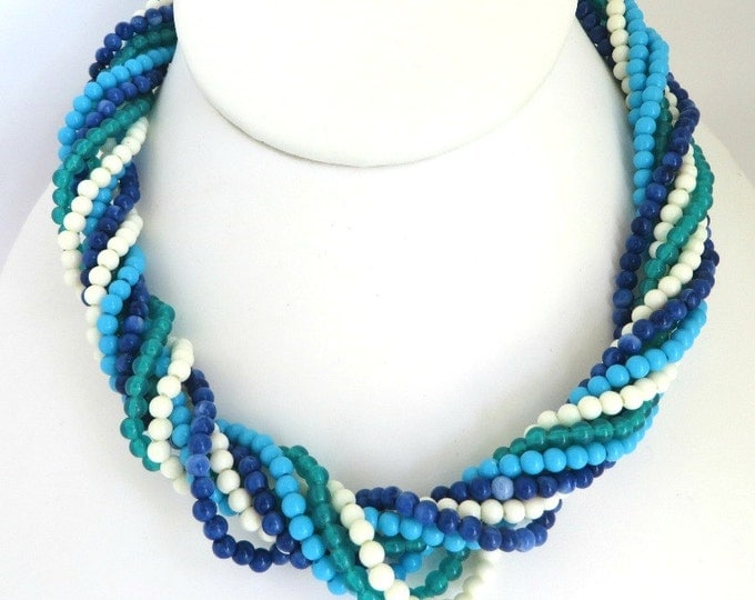 Avon Multistrand Necklace, Vintage Seed Bead Necklace, Blue Green White Beaded Choker, FREE SHIPPING