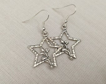 Star Tinkerbell Earrings - Silver Charm Jewellery Fairy Star Design Steampunk