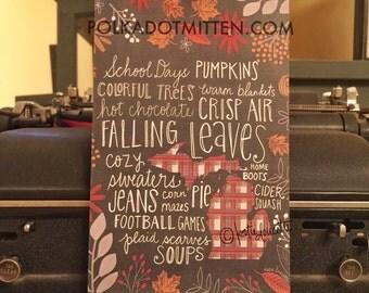 Autumn In Michigan Fall Words Art Print on Wood