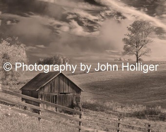 Barn with Thunderstorm Clouds on an Ohio Farm - Fine Art Photography Prints - Sepia Wall Art Decor Pictures Columbus
