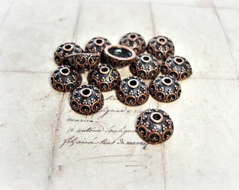 10 Antique Copper Bead Caps Acorn Style Ornate Dot Pattern 10mm