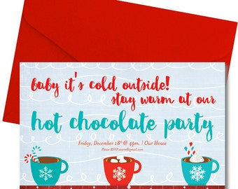 Hot Chocolate Party Invitation  - Printed & Shipped