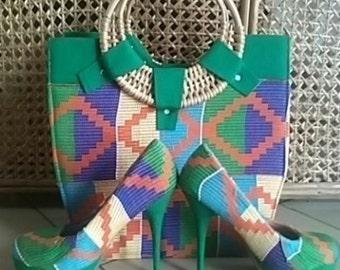 Kente High Heels with handbag green