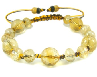 BB0964N Citrine Natural Crystal Gemstone Knot Bracelet