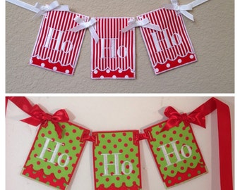 Price Reduced, Sale, Clearance, Ho Ho Ho Christmas Banner, Christmas decor, Holiday Decoration