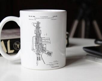 M-16 Rifle Patent Mug, Gun Mug, Military Gifts, Gun Enthusiast, Gun Gifts, PP0044