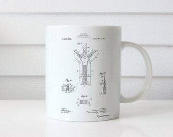 Zipper 1917 Patent Mug, Fashion Illustration, Invention, Zipper Pull, Boutique Decor, Fashion Mug, PP1143