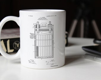 Edison Alkaline Battery Mug, Thomas Edison Mug, Office Decor, Technology Mug, Office Gifts, Edison Mug, PP0792