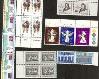 Vintage Package of World Stamps/MNH (10 pairs, blocks, strips or over-sized stamps).