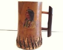 Vintage Wooden Tankard Carved from Large Branch Folk Art Souvenir